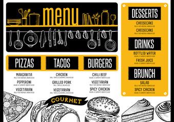 Menu restaurant, food template.