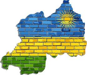 Rwanda map on a brick wall - Illustration,   Rwanda map with flag inside