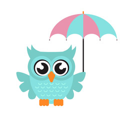 cartoon owl with umbrella