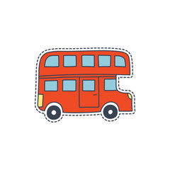 Hand drawn patch badges with United Kingdom symbol - red bus. Sticker, pin and patch in cartoon 80s-90s comic style