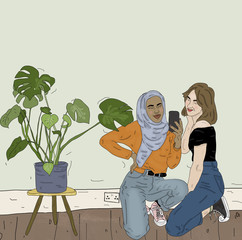 Illustration of two women taking selfie