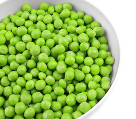 Bowl with fresh green peas on white background, closeup