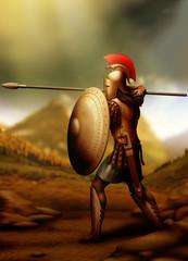 Greek-warrior/Greek warrior prepared for battle