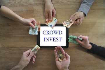concept crowd invest with many hands