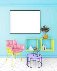 color mock up poster frame in rainbow interior background, modern and hipster style, 3D render, 3D illustration