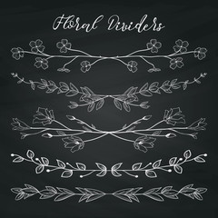 Chalk Drawing Dividers with Branches, Plants and Flowers
