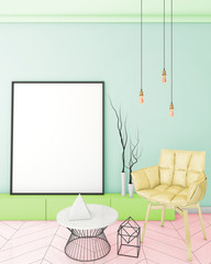 color mock up poster frame in rainbow interior background, modern and hipster style, 3D render, 3D illustration