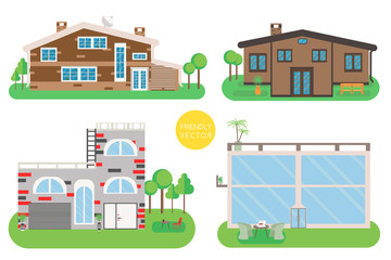 House vector illustration. Home exterior set in flat style. Modern and traditional house.