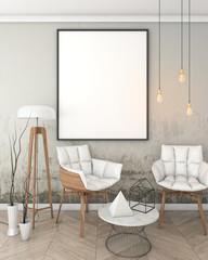 mock up poster frame in loft interior background, modern style, 3D render, 3D illustration