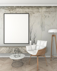 mock up poster frame in loft interior background, modern style, 3D render, 3D illustration