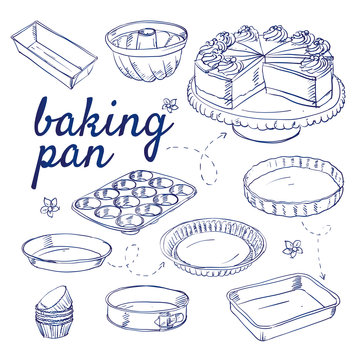 Doodle set of bake ware - baking cups,  equipment,  dish,  bowl,  tin, cake plate, muffin, gateau, hand-drawn. Vector sketch illustration isolated over white background.