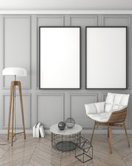 mock up poster frame in grey interior background, classic style, 3D render, 3D illustration