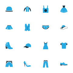 Clothes Colorful Icons Set. Collection Of Female Boots, Cap, Heels And Other Elements. Also Includes Symbols Such As Breeches, Gown, Waistcoat.