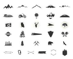 Outdoor adventure silhouette icons set. Climb and camping shapes collection. Simple black pictograms bundle. Use for creating logo, labels and other hiking, surf designs. isolated on white.
