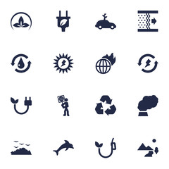 Set Of 16 Ecology Icons Set.Collection Of Cleaning, Rubbish, Leaf And Other Elements.