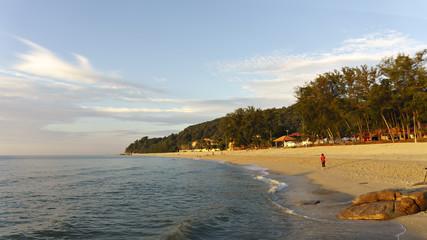 Beautiful beachside scenery in the morning