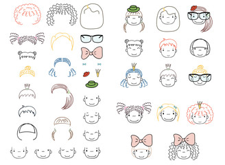 Collection of hand drawn vector doodles of cute funny girls heads with different hairstyles and trendy accessories.