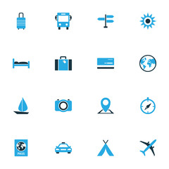 Traveling Colorful Icons Set. Collection Of Photo Device, Airplane, Bus And Other Elements. Also Includes Symbols Such As Autobus, Baggage, Tent.