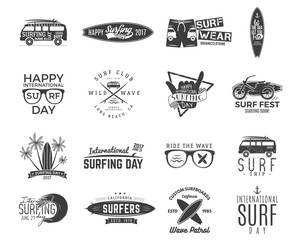 Vintage surfing graphics and emblems set for web design or print. Surfer, beach style logo design. Surf Badge. Surfboard seal, elements, symbols. Summer boarding on waves. hipster insignias