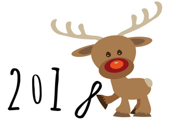 Little funny baby cartoon reindeer supporting number eight in numeric year, pour feliciter 2018 graphic