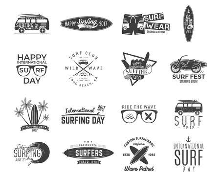 Vintage surfing graphics and emblems set for web design or print. Surfer, beach style logo design. Surf Badge. Surfboard seal, elements, symbols. Summer boarding on waves. hipster insignias