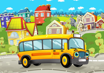 happy and funny cartoon bus looking and smiling driving through the city - illustration for children