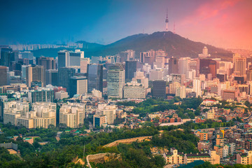Seoul. Image of Seoul downtown during summer sunset.