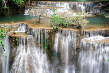 Wall Mural - Waterfall in Thailand, called Huay or Huai mae khamin in Kanchanaburi Provience