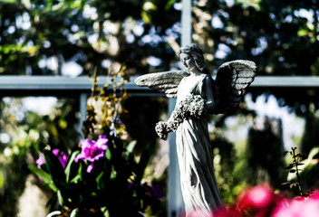 Soft focus Angel statue in the park.