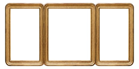Gold frame of three parts (triptych) on a white background