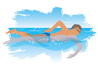 Young man swims in the sea.