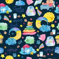 Cartoon night scene with cute cloud and star, seamless pattern