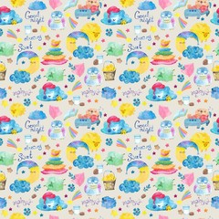 Cartoon night scene with cute cloud and star, seamless pattern