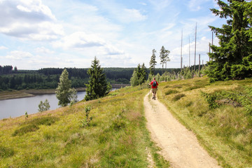 Hiking and biking, Nationalpark Harz, Eckerstausee, Wanderweg
