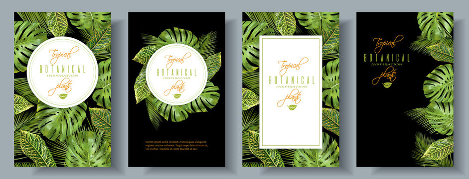 Tropical vertical banners set