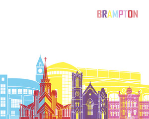 Wall Mural - Brampton skyline pop