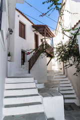 old greek town street alley skiathos island