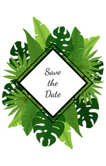 Save the Date Card with Tropical Leaves