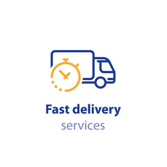 Truck delivery duration, fast relocation services, transportation company logo elements, shipping order day, distribution line icon
