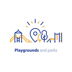 Play zone for children, playground equipment, local park