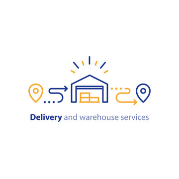 Delivery chain icon, order shipping, distribution warehouse services, relocation concept