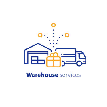 Delivery truck icon, order shipping, distribution warehouse services, relocation concept