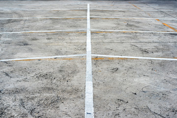 Abstract white and yellow lines of empty parking lots
