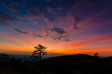 Twilight light on mountain.
