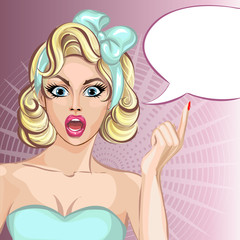 Pin up comic style surprised woman with speech bubble, pop art girl portrait, vector illustration