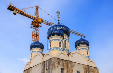 The Temple of Saint Righteous Warrior Admiral Fyodor Ushakov is being constructed in South Butovo, Moscow, horizontal photo.