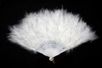 Vintage White Hand Feather Fan on Black Background