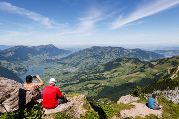 Documenting the view from the Grossen Mythen in Switzerland