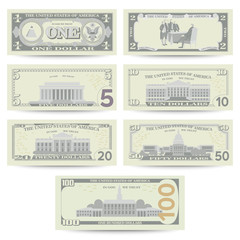 Dollars Banknote Set Vector. Cartoon US Currency. Flip Side Of American Money Bill Isolated Illustration. Cash Dollar Symbol. Every Denomination Of US Currency Note.