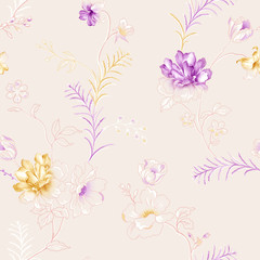 Photo sur Aluminium Fleurs Vintage Vivid repeating floral - For easy making seamless pattern use it for filling any contours